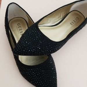 GUESS BEADED POINTY BLACK  BALLERINA FLATS SIZE 7